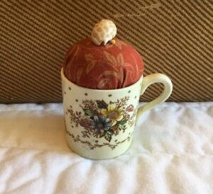 Vintage Mini Cup Pin Cushion, Crown Ware, Devon, Ducal, Brick Red Fabric