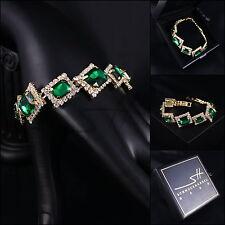 Edles Armband, Bracelet *Noble Green* Gelbgold pl., Swarovski Elements, +Etui