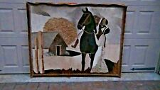 WESTERN RIDER ON HORSEBACK & WOMAN TOOLED HIDE ART PICTURE WALL HANGING  PANEL