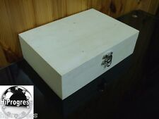 Unfinished Unpainted Plain Natural Wood Wooden Large Box With Hinged Lid Lidded