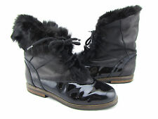 LA MONDIALE Black Patent Leather Lux Fur Winter Boots 9 40 Italy