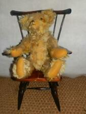 Vintage Yellow Teddy Bear With Glass Eyes And Wooden Fiddleback Dining Chair