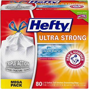 Hefty Ultra Strong Tall Kitchen Trash Bags, Clean Burst Scent, 13 Gallon, 80