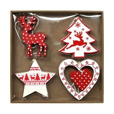 Pack of 8 Assorted Red & White Wooden Christmas Tree Hanging Pendant Decorations