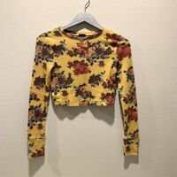 Out From Under Urban Outfitters Yellow Floral Thermal Crop Top Size Small S