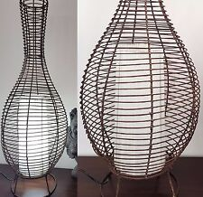 BALI BAMBOO WOOD RATTAN WICKER BOTTLE FLOOR DESK LAMP LIGHT BALINESE 100CM