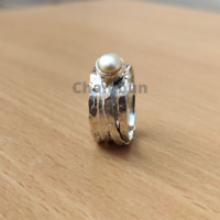 Pearl Ring Solid 925 Sterling Silver Spinner Ring Handmade Ring All Size sr100f6