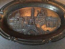 Vintage Metal Paris Souvenir Dish Depicting Various Sights In Relief