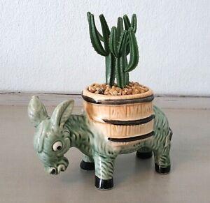 Vintage 50s 60s Ceramic Donkey & Artificial Plastic Cactus, Retro Tiki Kitsch