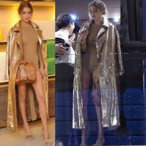 Sexy Fashion Womens Sequins Winter Trench Long Coat Magic Parka Outwear Jackets