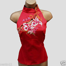 KAREN MILLEN Red Chinese Oriental Embroider Mandarin Neck Corset Top Blouse 8 UK