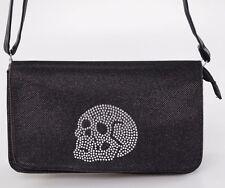 Iron Fist Womens Rhinestone Skull Addition Purse Handbag  Black Shoulder Bag