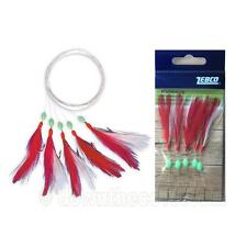 Zebco Mackerel Rig - 5 UV Active Red & White Feathers Hook 1/0 - 1st Class Post