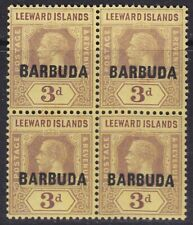 BARBUDA 1922 SG9  3d PURPLE PALE YELLOW MNH BLOCK OF FOUR