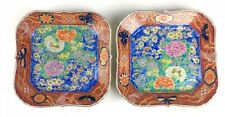 FINE PAIR FUKAGAWA JAPANESE ENAMELED SQUARE PLATES MEIJI PERIOD ORCHID MARK