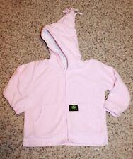 JOHN DEERE Girls' 12/18 Month ZIP-UP HOODIE SWEATSHIRT (pink fleece) EUC