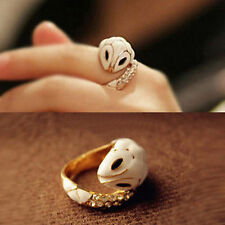 Vintage Gold White Enamel Snake Ring Size 8