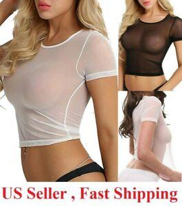 Women Sexy See Through  Mesh Sheer Tank Crop Top Vest T-Shirt Blouse Tee Lingeri