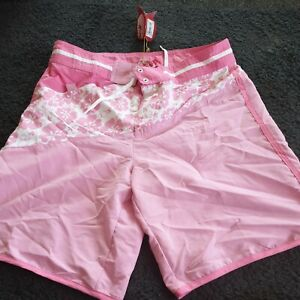 Ocean Pacific Women's UK Size 12 Barbados  Floral Beach Shorts Pink/White