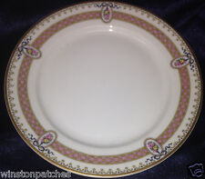 """M REDON LIMOGES RDN28 PL40 FLORAL CAMEOS PINK BAND BREAD BUTTER PLATE 6 1/4"""""""