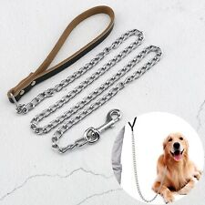 Dog Chain Lead with Cattlehide Handle for Large and Medium Size Dogs