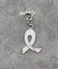 4f19a397d White Awareness RIBBON, Lung Cancer Charm fits European Designer Bracelets-  F992