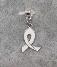 White Awareness RIBBON, Lung Cancer Charm fits European Charm Bracelets - F992