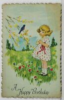Happy Birthday Cute Girl With Blue Bird Flowers Diecut Postcard N11