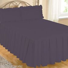 Purple Fitted Bedspread Set Pillow Shams Quilted Egyptian Cotton Aubergine Plum Double Bed Size