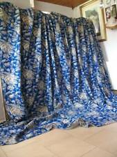 """Large Antique French Chateau Prussian Blue Curtain Panel 110"""" x 160"""""""