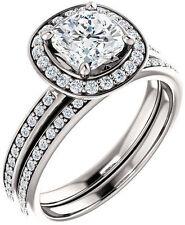 1.28 carat total Cushion & Round cut Diamond Halo Engagement 14k White Gold Ring