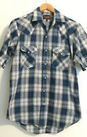 Plains Western Wear Men's Small Blue plaid pearl snap western short sleeve shirt