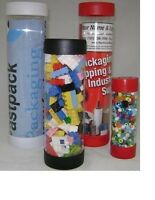 """1 Clear Plastic Mailing Tube 2.5"""" x 4"""" w/ RED Caps Mailing Shipping Storage"""