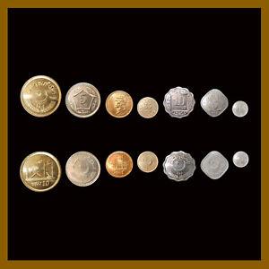 Pakistan 1 5 10 25 Paise 1 5 10 Rupiah (7 Pcs Coin Set), 1976-2016 AU/Unc