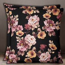 Cotton Poplin Black With Pink Floral Print Square Pillow Case Cushion Cover