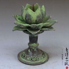 Chinese antique handmade Bronze Lotus statue Candlestick Incense burner