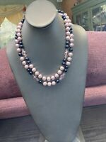 Black Pink Two Strand Glass Crystal Bead Layered 2 Strand Necklace Black Pink