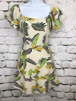 Emory Park Women's Dress Cream with Tropical Floral Off Shoulder Size Small