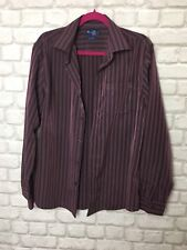 BHS MENS SOFT TOUCH SHIRT SIZE M MAROON RED BROWN COLOUR STRIPE LONG SLEEVE