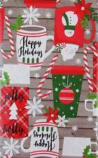Christmas Cups Mugs Gray Wood Background Vinyl Flannel Back Tablecloth 60 Round