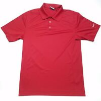 Nike Golf Dri Fit Solid Red Short Sleeve Casual Polo Shirt Men's Size Small S