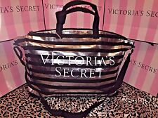 Victorias Secret Duffle Bag Weekender Travel Bag Black & Silver