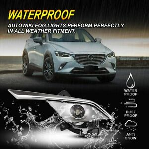 2Pcs Front Grills Bumper Driving Halogen Lamp Fog Lights For Mazda CX-3 16-19