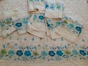 Vintage Midcentury 1950's 1960's Kitchen Curtains 6 Panels 2 Valances Blue Prop
