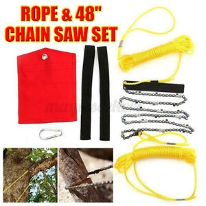 High Reach Limb Rope Chain Saw 48in Branch Tree Cutter Trimmer Garden w/Bag