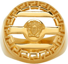 Brand New In Box $400 Versace Gold Round Medusa Ring Size 19