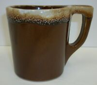 Vintage Monmouth Maple Leaf Brown Drip Glaze Coffee Cup Mug