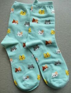NEW Ladies Girls (1 Pair) Blue Cat Face Socks Ginger Calico Black & White Tabby