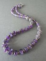Vintage Amethyst Solid Silver Spacers Modernist Necklace