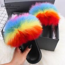 2020 Hot Sale Women Fur Slipper Plush Fox Racoon Fur Ladies Fashion Luxury Slide